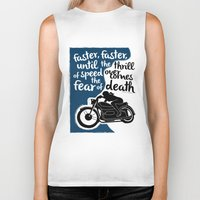 hunter s thompson Biker Tanks featuring Hunter S. Thompson Moto Girl  by Peated Proverbs