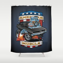 American Muscle Patriotic Classic Muscle Car Cartoon Illustration Shower Curtain