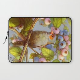 Orange cheeked waxbill finch with blueberries Laptop Sleeve