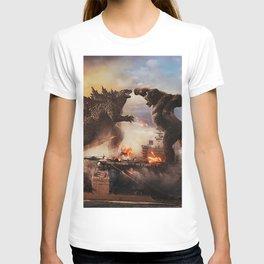 Godzilla vs King Kong Moster Fight Movies Art Print Decor Home Poster T-shirt