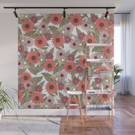 Girly blush pink coral gold modern floral Wall Mural