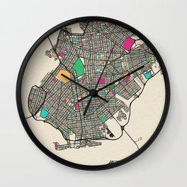 Colorful City Maps: Brooklyn, New York Wall Clock