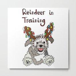 Christmas Dog Design 'Reindeer in Training' Metal Print