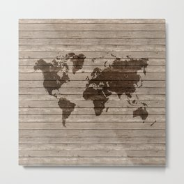 Rustic world map Metal Print
