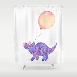 Tie-dye Triceratops Shower Curtain