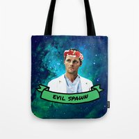 spawn Tote Bags featuring Evil Spawn by drmedusagrey