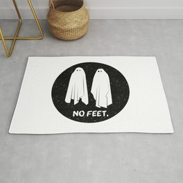 No Feet Ghosts Black and White Graphic Rug