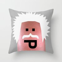 einstein Throw Pillows featuring einstein by Panic Junkie