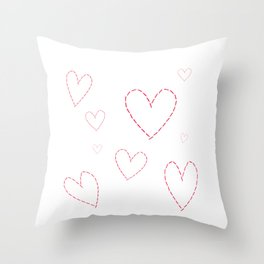 Seamless background with hearts sewn in red thread Throw Pillow