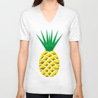 pineapple V-neck T-shirts featuring Pineapple by mailboxdisco