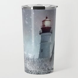 New England Winter Lighthouse Travel Mug