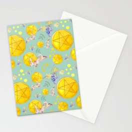 Teal Pentacles Stationery Cards