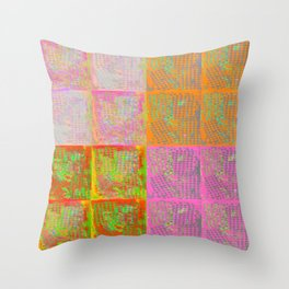 Floral tile collage Throw Pillow