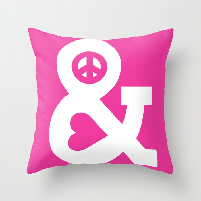 Peace And Love Pink Edition Throw Pillow By Budikwan