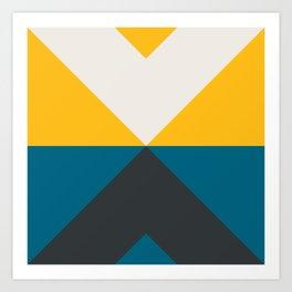 Split X Teal & Yellow Art Print