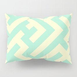 Cream Yellow and Magic Mint Green Diagonal Labyrinth Pillow Sham