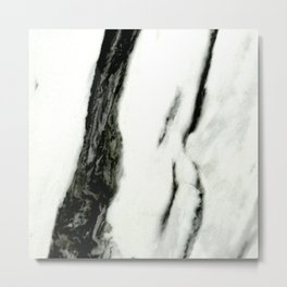 Ebony White Marble With Captivating Black Veins Metal Print