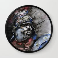 gladiator Wall Clocks featuring Gladiator by Tania Richard
