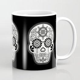 Día de Muertos Calavera • Mexican Sugar Skull – White on Black Coffee Mug