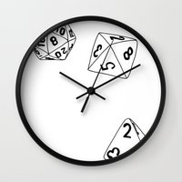 dungeons and dragons Wall Clocks featuring Dungeons and Dragons Dice by mrcarter