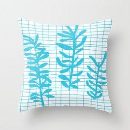 Grid Sprig - aqua blue Throw Pillow