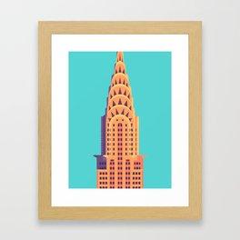 Chrysler Building New York Art Deco - Cyan Framed Art Print