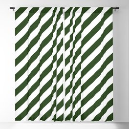 Large Dark Forest Green and White Candy Cane Stripes Blackout Curtain