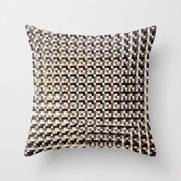 leigh - tan beige black ivory indigo geometric mosaic pattern Throw Pillow