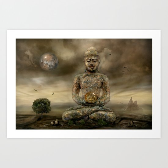 Buddha in the sand Art Print