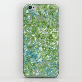 Splatter Painting in Blue, Green and White iPhone Skin
