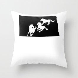 North Dakota Nokota Horse Lover Black Throw Pillow