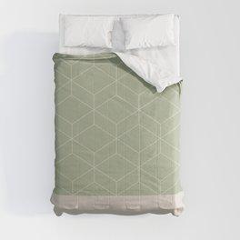 Sage and Beige Geometric Honeycomb Lattice Cuff Pattern Fine Comforters