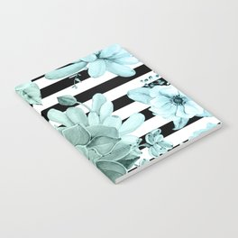 Succulents in the Garden Teal Blue Green Gradient with Black Stripes Notebook