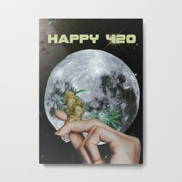 Happy 420 Moon Metal Print