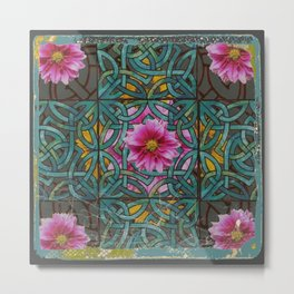 GRUNGY ANTIQUE PINK FLORAL CELTIC PATTERN Metal Print