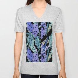 Polka Dot Begonia Leaves in Black + Blue Unisex V-Neck