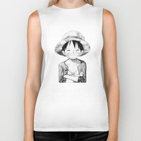 luffy Biker Tanks featuring WANTED - Luffy by josemaHdeH