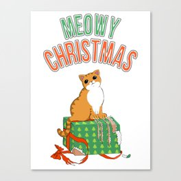 Meowy Christmas Orange Tabby Cat T-Shirt xmas Santa Claws Canvas Print