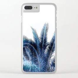 Blue Pam leaves on white Clear iPhone Case