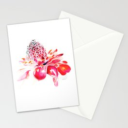 Red Ginger Flower Stationery Cards