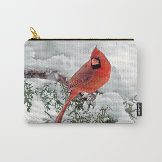 Cardinal on Snowy Branch #3 Carry-All Pouch