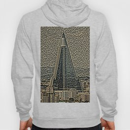 North Korea Ryugyong Hotel Artistic Illustration Rotten Steel Style Hoody