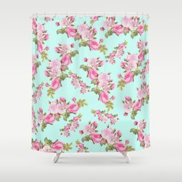 Pink & Mint Green Floral Shower Curtain