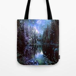 A Cold Winters Night : Violet Teal Green Winter Wonderland Tote Bag