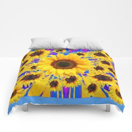 SUNFLOWERS GARDEN BABY BLUE PATTERN Comforters