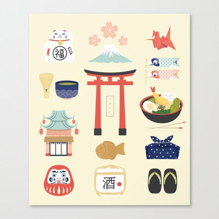 Japan Icons Illustration : PAST Leinwanddruck