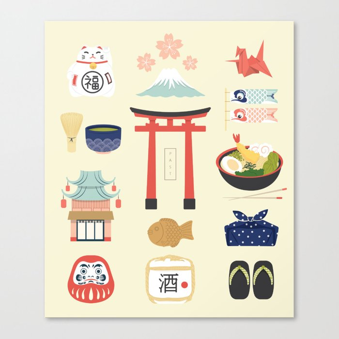 Japan Icons Illustration : PAST Leinwanddruck