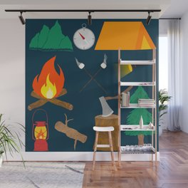 Let's Explore The Great Outdoors - Dark Blue Wall Mural