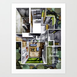 PARASITE's house of the Parks in watercolor Art Print