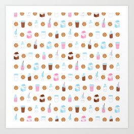 Milk and Cookies Pattern on White Art Print